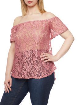 Plus Size Off the Shoulder Lace Top - 8428072246048