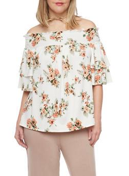Plus Size Off the Shoulder Floral Peasant Top - 8428072246058