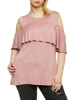 Plus Size Solid Ruffled Cold Shoulder Top - 8428072246207