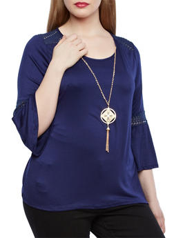 Plus Size Boho Bell Sleeve Top With Necklace,NAVY,medium
