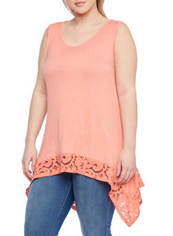Plus Size Tank Top with Lace Sharkbite Hem - 8428073011228