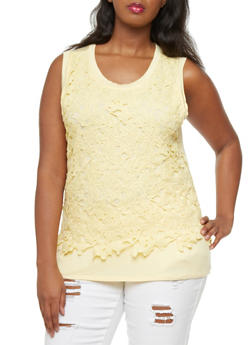 Plus Size Tank Top with Crochet Front Overlay,YELLOW,medium