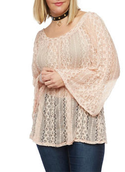 Plus Size Lace Peasant Top with Bell Sleeves - 8428073384727