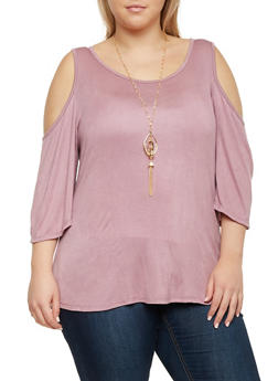 Plus Size Cold Shoulder Top with Lace Panel - 8428073412735