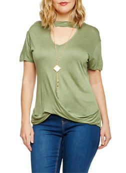 Plus Size Short Sleeve Keyhole Twisted Top with Necklace - 8428073413861