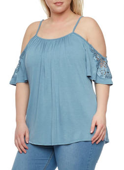Plus Size Cold Shoulder Top with Crochet Trimmed Sleeves - 8428073414292