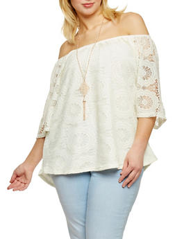 Plus Size Off the Shoulder Crochet Peasant Top with Necklace - 8428073506040