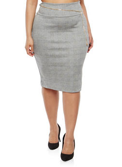 Plus Size Plaid Pencil Skirt with Chain Belt - 8428074010528