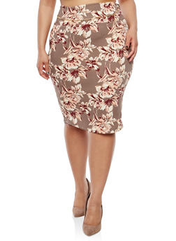 Plus Size Floral Belted Pencil Skirt - 8428074011528