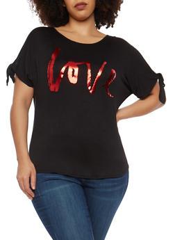 Plus Size Love Graphic Tie Slit Sleeve Top - 8428074282102