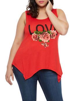 Plus Size Love Graphic Tank Top - 8428074282104