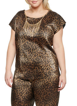 Plus Size Crinkled Top with Necklace - 8429020620561
