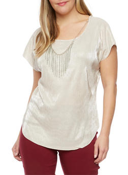 Plus Size Crinkled Top with Necklace - SILVER/IVORY - 8429020620561