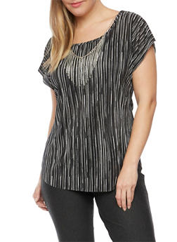 Plus Size Crinkled Top with Necklace - BLACK STRIPE - 8429020620561