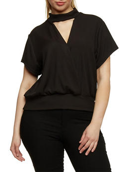 Plus Size Short Sleeve Rib Knit Choker Top - 8429020621156