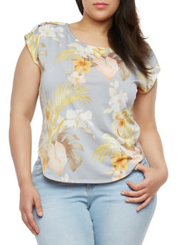 Plus Size Tropical Print Top - 8429020622556