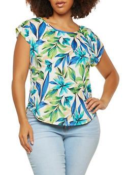 Plus Size Tropical Print Top - 8429020622556
