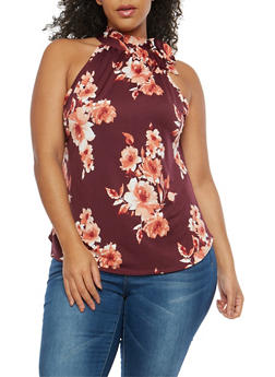 Plus Size Sleeveless Floral Tie Neck Top - 8429020623567