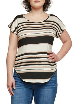 Plus Size Short Sleeve Multi Striped T Shirt with Rounded Hem - 8429020624480
