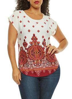 Plus Size Short Sleeve Border Print Top - 8429020624803