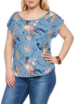 Plus Size Soft Knit Floral Print Top - 8429020625202