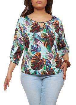 Plus Size Tropical Floral Keyhole Top - 8429020625561