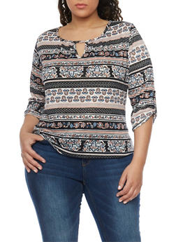 Plus Size Printed Peasant Top with Front and Back Keyhole - 8429020625566