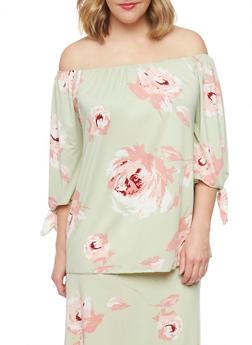 Plus Size Off the Shoulder Floral Print Top - 8429020625660