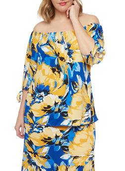 Plus Size Off the Shoulder Floral Print Top - 8429020625660