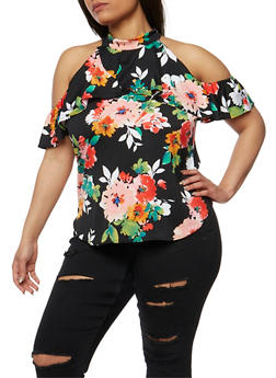 Plus Size Ruffled Floral Cold Shoulder Top - 8429020625668