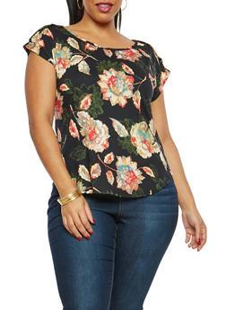 Plus Size Soft Knit Floral Print Top - 8429020626202