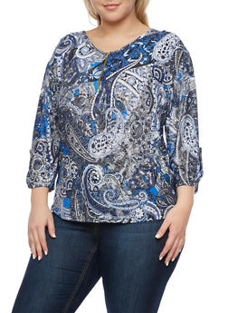 Plus Size Printed Top with Zip Scoop Neck - BLACK - 8429020626538