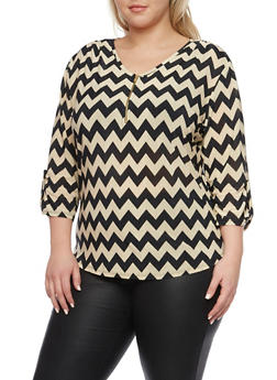Plus Size Printed Top with Zip Scoop Neck - TAUPE - 8429020626538