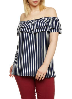 Plus Size Off the Shoulder Top with Stripes - 8429020626572