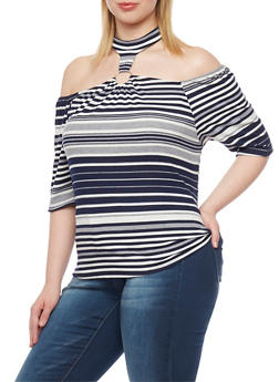 Plus Size Striped Rib Knit Off the Shoulder Top with Choker Neckline - 8429020626604