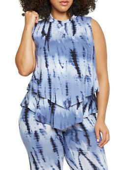 Plus Size Layered Mockneck Tye Dye Top - 8429020626617