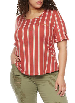 Plus Size Striped Top with Zipper Accent - 8429020626626