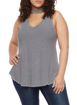 Plus Size Striped Sleeveless Top with Mockneck Cutout - 8429020626628