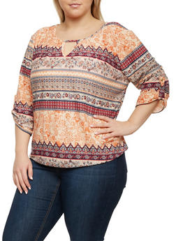 Plus Size Printed Top with Keyhole Cutout - 8429020626785
