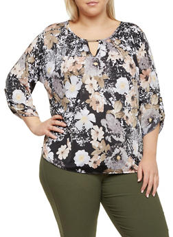Plus Size Printed Top with Keyhole Cutout - TAUPE - 8429020626785