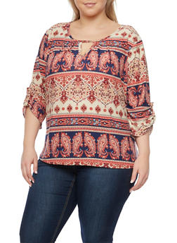 Plus Size Printed Top with Keyhole Cutout - BURGUNDY - 8429020626785