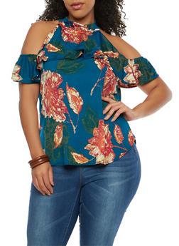 Plus Size Floral Print Cold Shoulder Top - 8429020626849