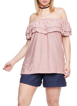 Plus Size Double Ruffle Off the Shoulder Striped Top - 8429020627256