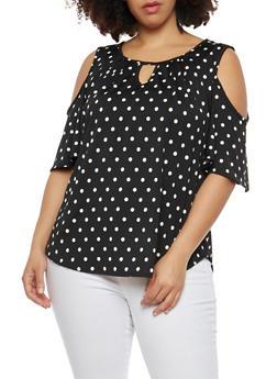 Plus Size Polka Dot Cold Shoulder Top - 8429020627554