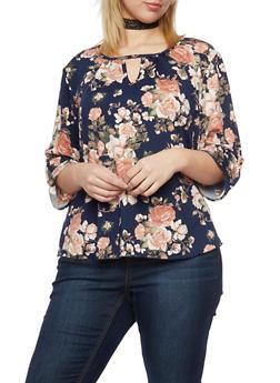 Plus Size Floral Keyhole Blouse - 8429020627855