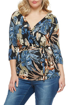 Plus Size Floral Print Faux Wrap Top - 8429054262125