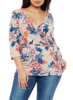 Plus Size Floral Wrap Front Top - 8429054262126