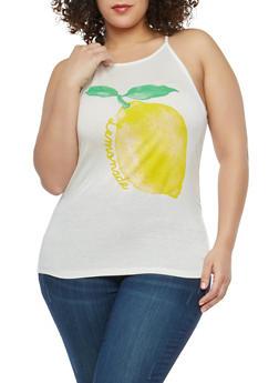 Plus Size Lemonade Graphic Tank Top - 8429054263453