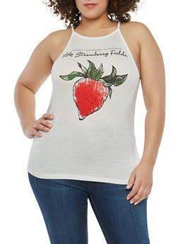 Plus Size Strawberry Graphic Tank Top - 8429054263456