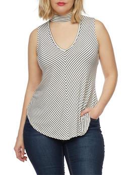 Plus Size Sleeveless Striped Keyhole Choker Top - 8429054265116
